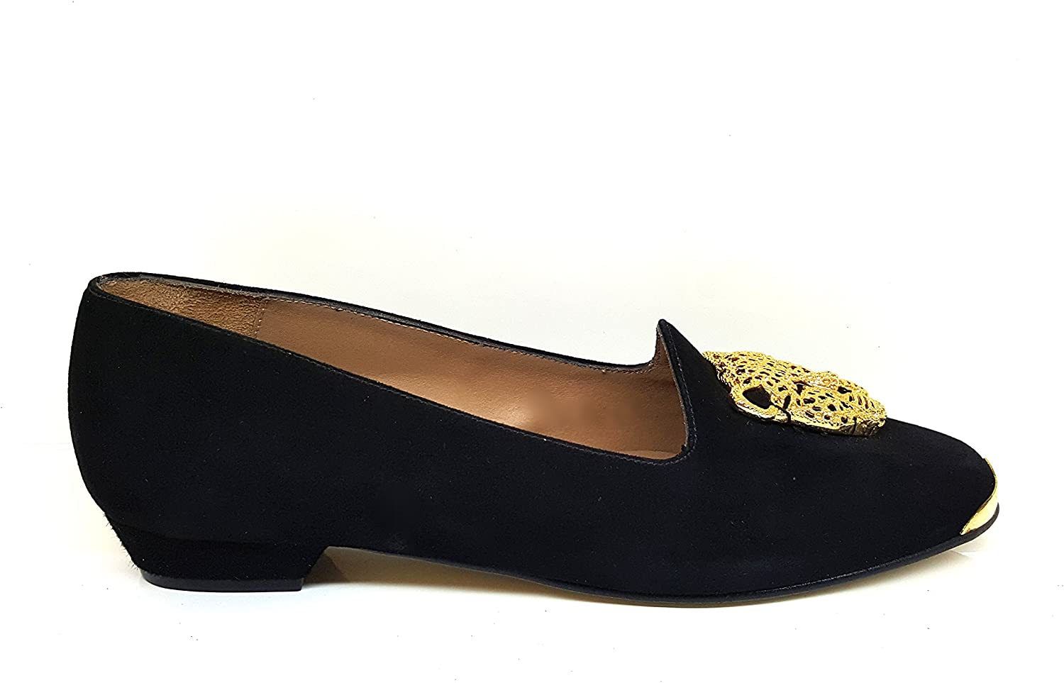 GENNIA CEON-P. - Women Leather Flat Ballerina with golden Tiger Adornment & Low Heel
