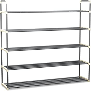 SONGMICS 5 Tiers Shoe Rack Space Saving Shoe Tower Cabinet Storage Organizer Dark Brown 39L Holds 20-25 Pair of Shoes ULSH55Z