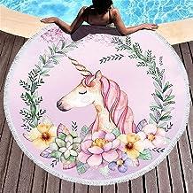 Yansion Unicornio Toalla de Playa Toalla de Microfibra Redonda más Grande Suave Digital Linda Impreso Color Brillante Toalla de Playa Deportes Baño(Unicorn Tassel)