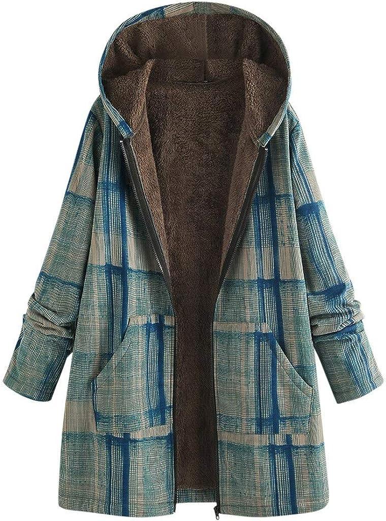 aihihe Womens Long Sleeve Full Zip Casual Jackets Coats Plus Size Winter Warm Plaid Print Casual Fleece Coat Parka