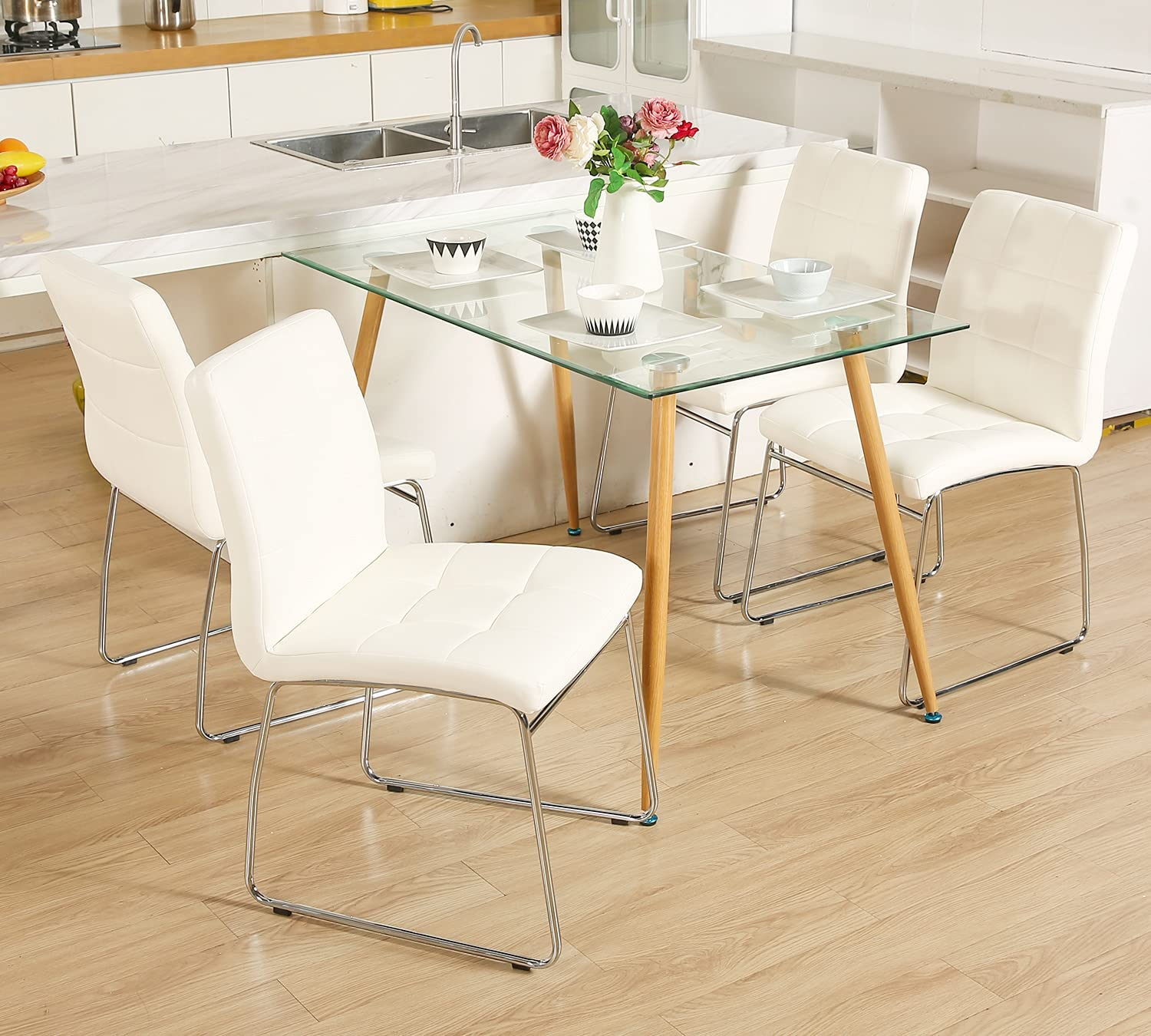 Buy Glass Dining Table Set for 9,WISOICE Modern Rectangle Glass ...