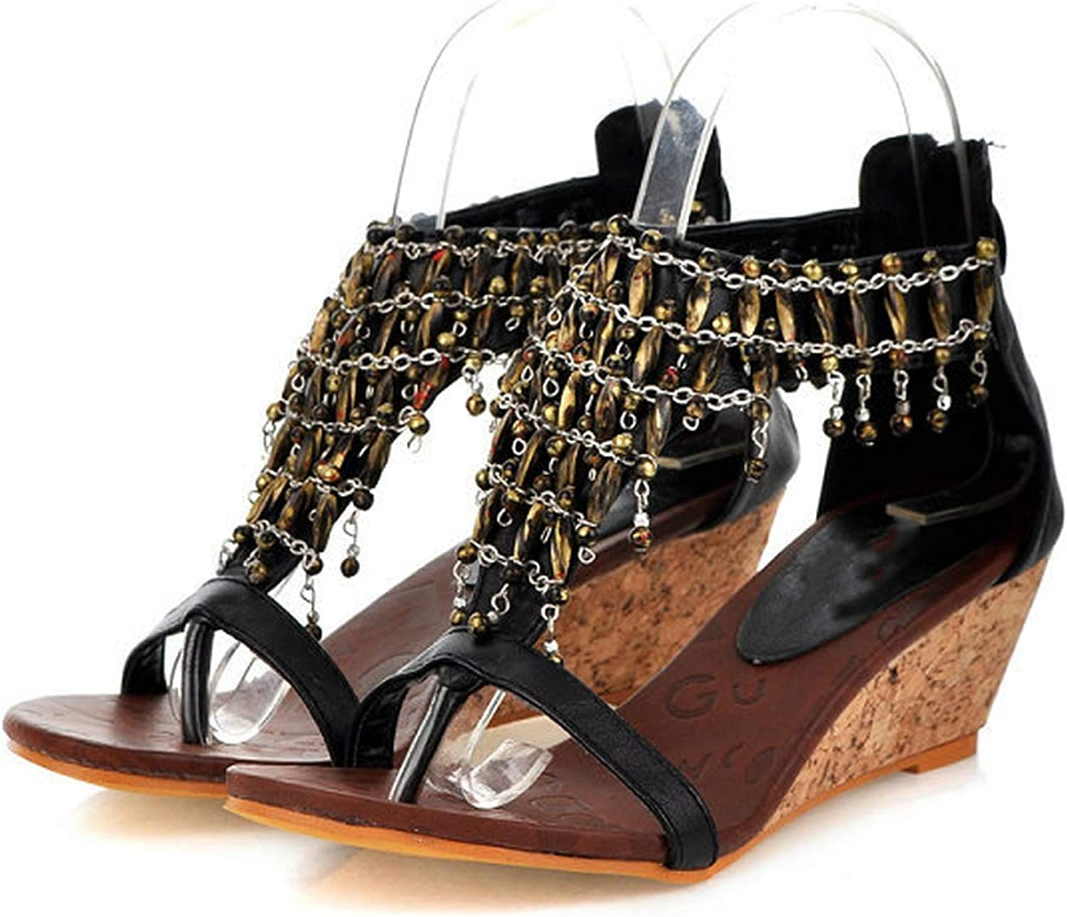 Mo Duo New Women's Fashion National Style Beads Adornment Wedge Sandals