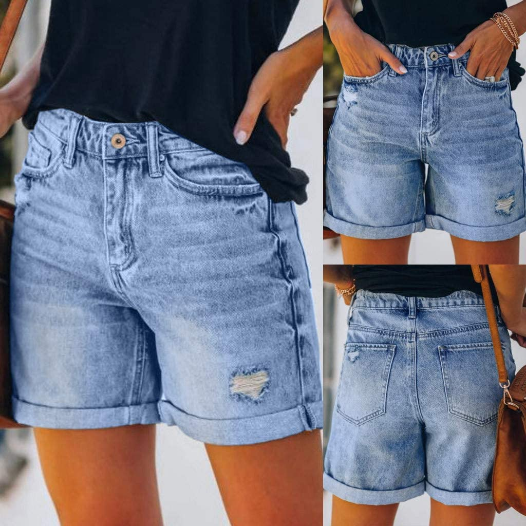 High Waisted Jean Shorts for Women Casual Stretchy Denim Folded Hem Curvy Fit Jeans Shorts Distressed Shorts with Pockets