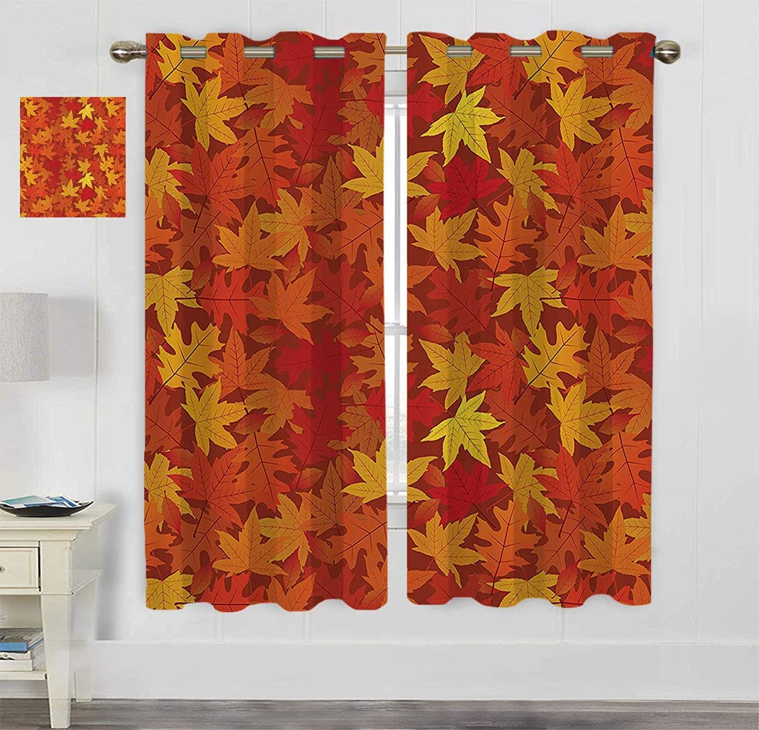 Amazing Decor Blackout Curtains Max 40% OFF Multi Maple Colored half Autumn Fall