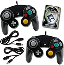 2 Black Game Cube Console with 2 Extension Cables and 128mb Memory Card (2-BLK)