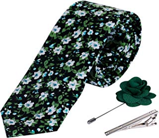 Men's Cotton Printed Floral Neck Tie Skinny Ties with Stainless Steel Tie Clip and Lapel Pin/Brooch Gift Set