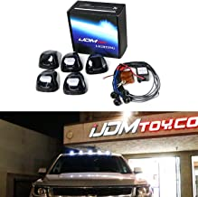 iJDMTOY (5) White LED Black Smoked Cab Roof Marker Lights w/Wireless Remote Control Strobe Flash Blink Module Box