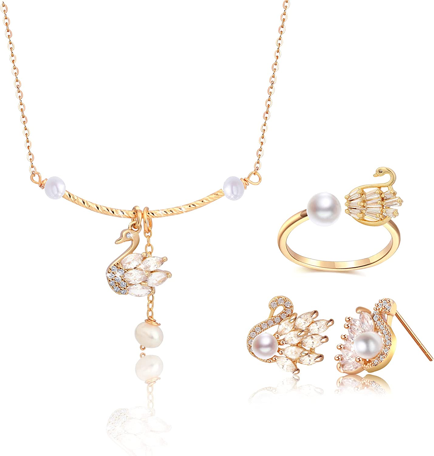 Wixwara Sparkle Swan Pearl Jewelry Set for Women/Girls, Choker Necklace, Stud Earrings, Open Adjustable Ring for Women, 14K Gold Plated Hypoallergenic Jewelry, Yellow Gold