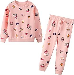 JinBei Conjuntos Deportivos para bebé Niño Niña Chándales Conjunto Sudaderas Sweater Pantalones Ajustable Cinturón Algodon...