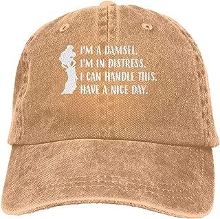 Genwo182nimas Men's Woman's Unisex Cool I'm A Damsel I'm in Distress Funny Quotes Princess Adult Cowboy Cap Natural