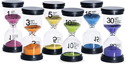 Kusmil Sand Timer 6 Colors Hourglass 1/3/5/10/15/30 Minutes Sandglass Timer Sand Clock for Kids Games Classroom Kitchen Home Office Decoration (Pack of 6)
