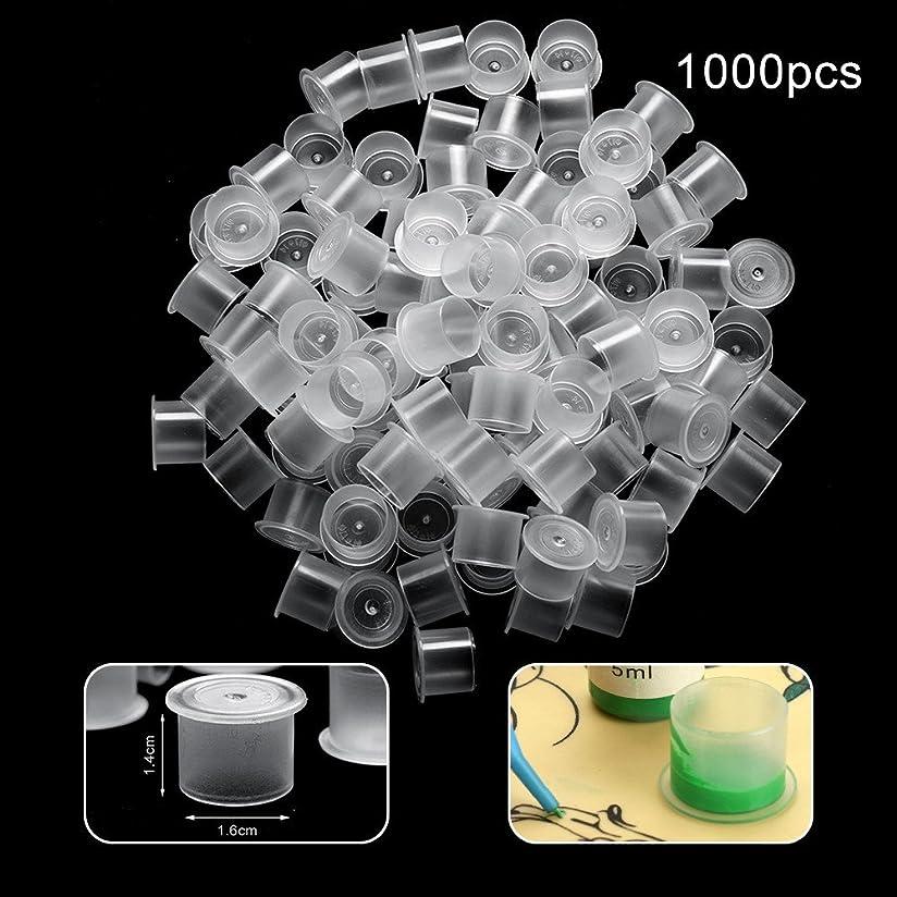 うれしい事件、出来事弾丸ATOMUSタトゥーインクキャップ 使い捨て顔料インクカップ 永久的な眉毛入れ墨ピグメントコンテナ 100個-500個-1000個セット 大中小 3サイズ (1.4*1.6cm 大 1000pcs)