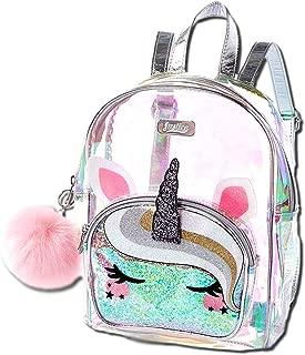 Unicorn Mini Backpack - Girls Clear Holographic Travel Daypack - Small Waterproof and Glitter Bookbag Purse
