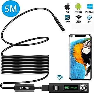 MAYOGA ワイヤレス内視鏡カメラ wifi接続 1200P 超高画質 スマホ タブレット iphone android ios pc対応 ファイバースコープ 8mm極細レンズ 録画可能 エンドスコープ 内視鏡 IP68防水 8LEDライト 硬性内視鏡 設備の点検 USB接続スネークカメラ スコープ 工業用内視鏡 安定なAPP 日本語取説(5m)