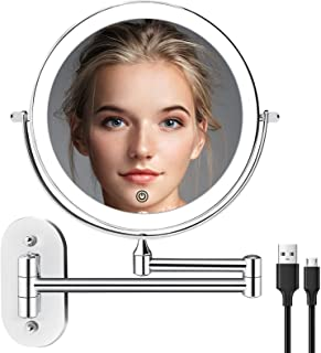 Wall Mounted Lighted Makeup Vanity Mirror 8 inch 1X/10X Magnifying Mirror with 3 Color Lights, Double Sided Bathroom Mirro...