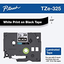 """Brother Genuine P-Touch TZE-325 Tape, 3/8"""" (9 mm) Standard Laminated P-Touch Tape, White on Black, Laminated for Indoor or Outdoor Use, Water-Resistant, 26.2 ft (8 m), Single-Pack"""