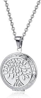 Zysta, collana vintage con ciondolo a forma di albero della vita e fiore della vita, ciondolo apribile, amuleto per uomo e...