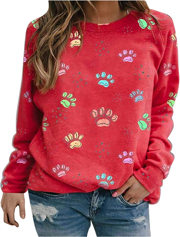SSZZoo Women's Fashion Long Sleeve Cute Print Round Collar Sweater T-Shirt Loosen Blouse Tops