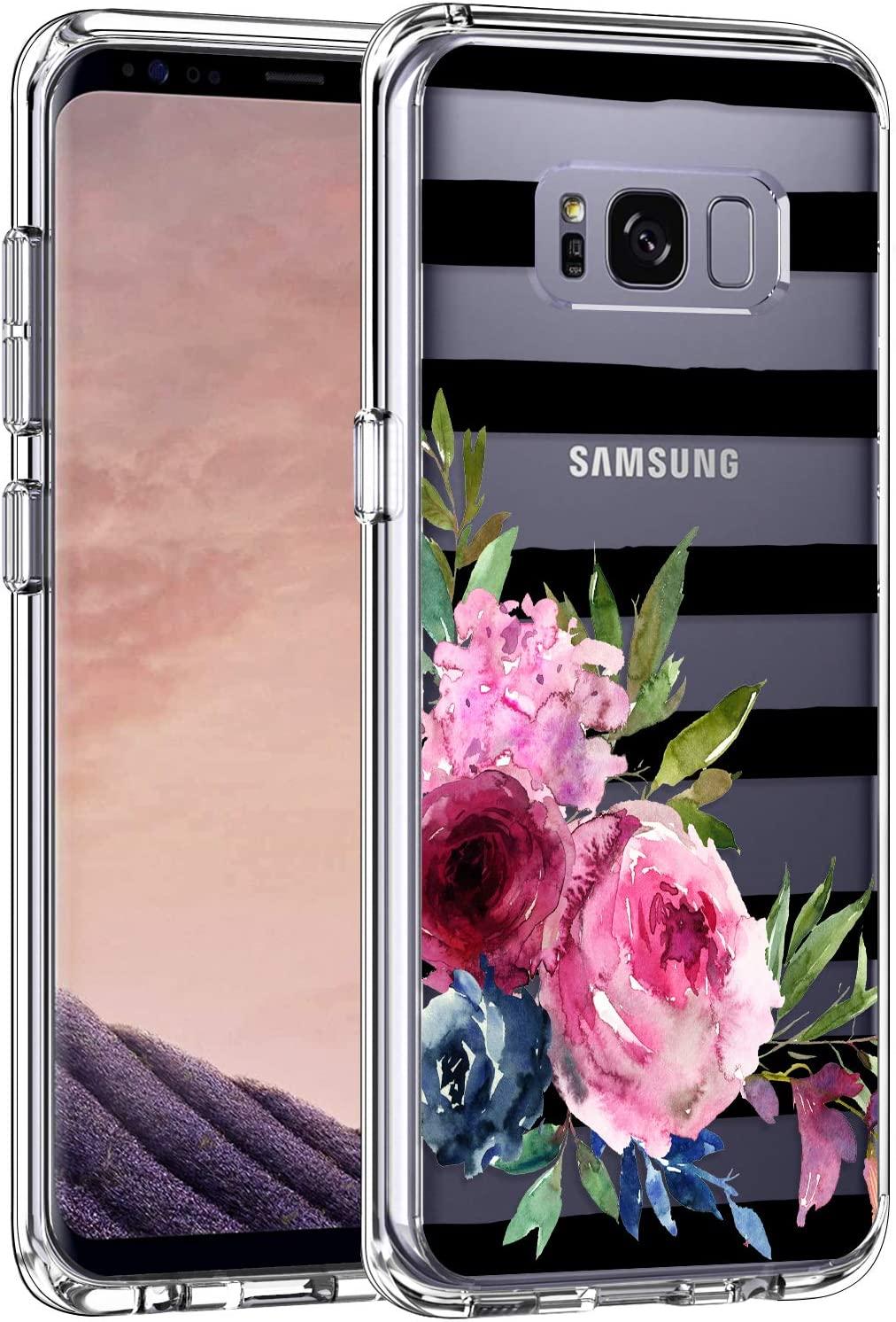 LUHOURI Samsung Galaxy S8 Case Clear with Elegant Flowers Design for Girls Women,Shockproof Hard PC Back Cover and Soft TPU Bumper Slim Fit Protective Phone Case for Galaxy S8