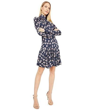 Rebecca Taylor Long Sleeve Thistle Fleur Turtleneck Dress (Black Combo) Women
