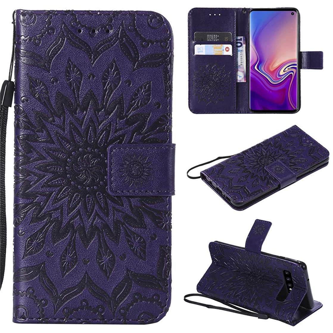 Samsung Galaxy S10 Wallet Case,MEUPZZK Sunflower with Shockproof Kickstand Credit Card Holder Flip Magnetic Closure Protection Wallet Leather PU Cover for Samsung Galaxy S10 (Purple) cmahiedl91321