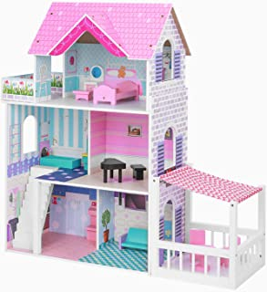 BABLE Wooden Dollhouse for 3-9 Year Olds Girls, Dollhouse with Furniture for Small Space, Beautiful Modern Space-Saving De...