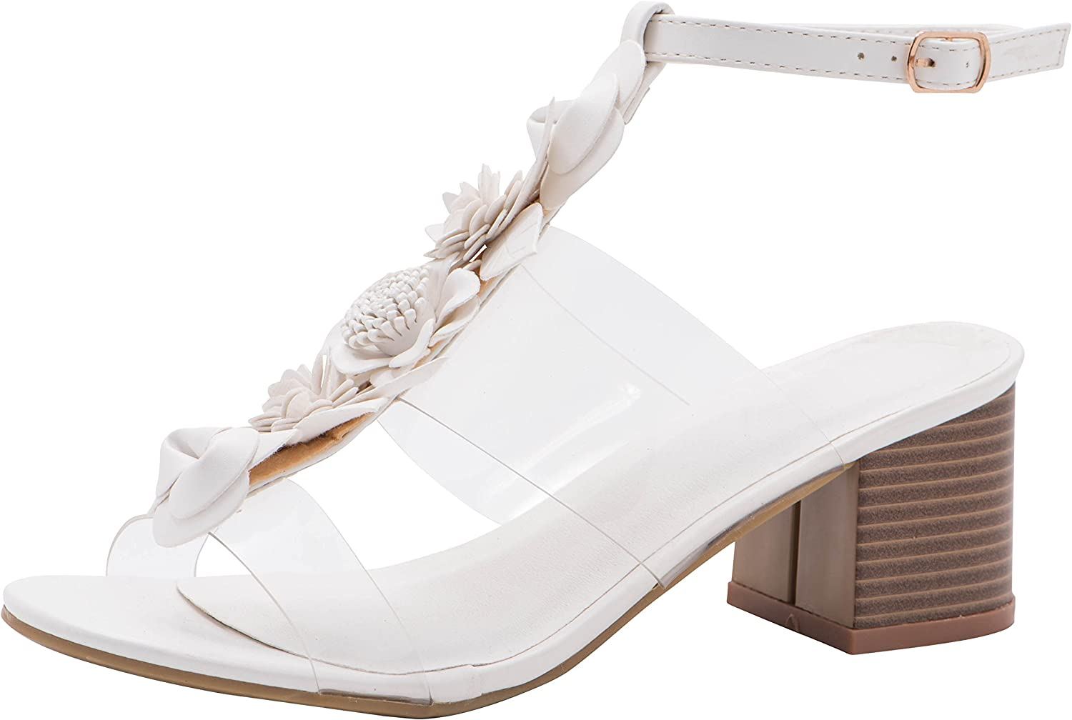 Cambridge Select Women's T-Strap Clear See Through Flower Mixed Media Chunky Stacked Block Heel Open Toe Sandal