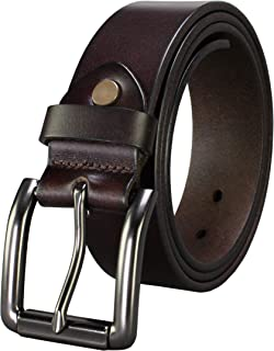 Bullko Men`s Genuine Leather Belt Casual Jean Belts for Men