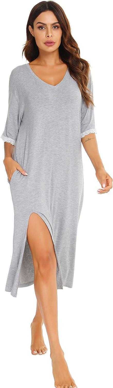 Vlazom Womens Nightgowns Long Sleeve Nightdress V Neck Soft Sleepshirt Nightshirt Sleepwear S-XXL