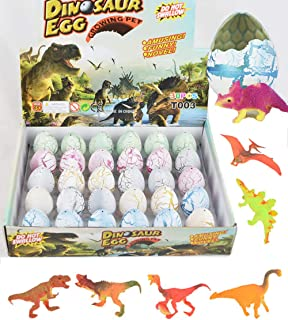30 Easter Eggs with Prefilled 3D Action Dinosaur Figures Realistic Figurine in Jurassic Hatching and Growing Dino Eggs for Basket Stuffers Easter Hunt Fillers and Party Prize Supplies (White)