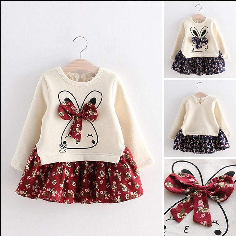 Multicolor,Multisize Su/éter de Conejito de Dibujos Animados y Falda de Flores Hermosa para Ni/ña Vestido de Moda Ni/ña Falda con Vuelo Bonito