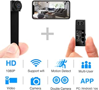 Hidden Spy Camera,1080P WiFi Mini Camera Portable Wireless Security Cameras Video Recorder IP Network Nanny Cam with DIY Interchangeable Lens/Motion Detection for Home Monitoring(Updated app)