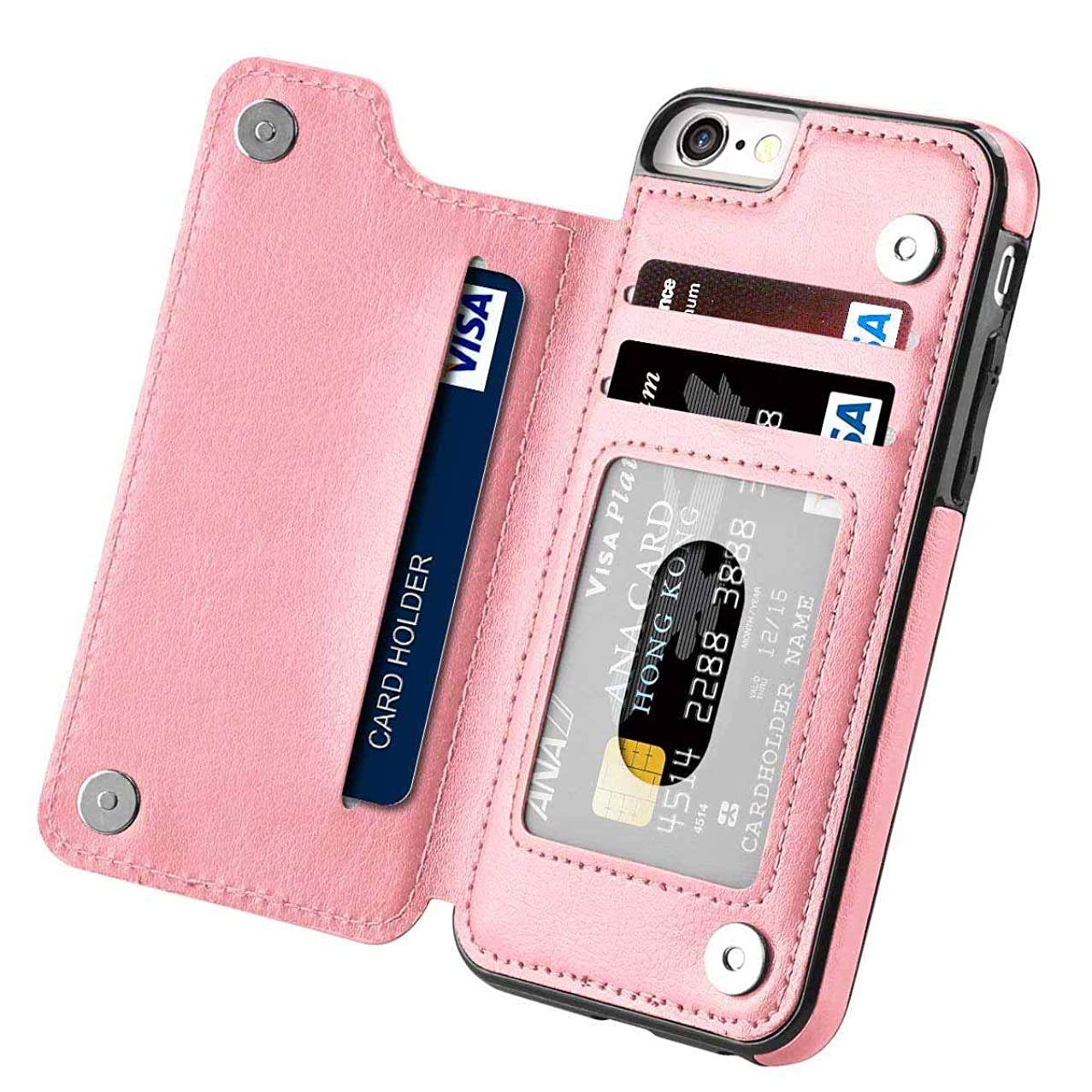 iPhone 7 Wallet Case with Card Holder,iPhone 7 8 Case Wallet for Men Women,Aprilday Compatible iPhone 7 8 Premium Leather Case Slim Fit Kickstand Card Slots Durable Shockproof Case Cover (Rosegold)