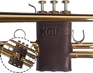 Trumpet valve guard by KGUBrass is the Brown leather trumpet valve protector made of luxurious mild and thick material; use as protection from corrosion, scratches and stains (Blue thread)