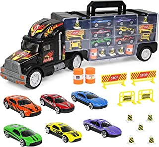 """Click N' Play Transport Car Carrier Truck, Loaded with Cars, Road Signs & More. Holdup to 28 Cars. Jumbo 22"""" Long"""
