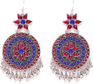 Crunchy Fashion Bollywood Style Oxidised Silver Red-Blue Crystal Indian Jewelry Earrings for Women & Girls