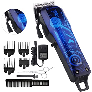 Professional Cordless Rechargeable Hair Clippers for men Beard Trimmer BESTBOMG Hair Cutting Kit for Kids with Taper Lever, Rechargeable Li-ion Battery ICR18650 Heavy Duty Motor