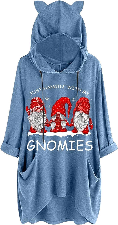 Plus Size Women Hoodies Cute Cat Ear Novelty Christmas Printed Long Sleeve Sweatshirt Drawstring with Pockets
