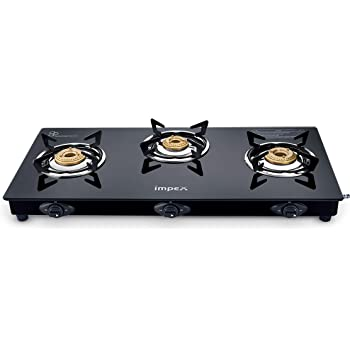 impEX IGS-1213F Mild Steel - Powder Coated Glass Top 3 Burner Manual Gas Stove (Black)