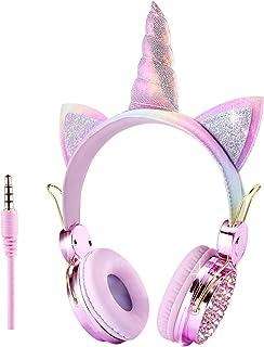 Unicornio - Auriculares para niños con cable de audio de 3,5 mm, 85 dB, volumen limitado, auriculares para niños, niñas, adultos, adolescentes, escuela, Navidad, fiestas (unicornio rosado)