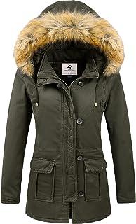 کت زمستانی زنانه Uoiuxc ژاکت پارک پف دار گرم ضخیم با کلاه خزدار