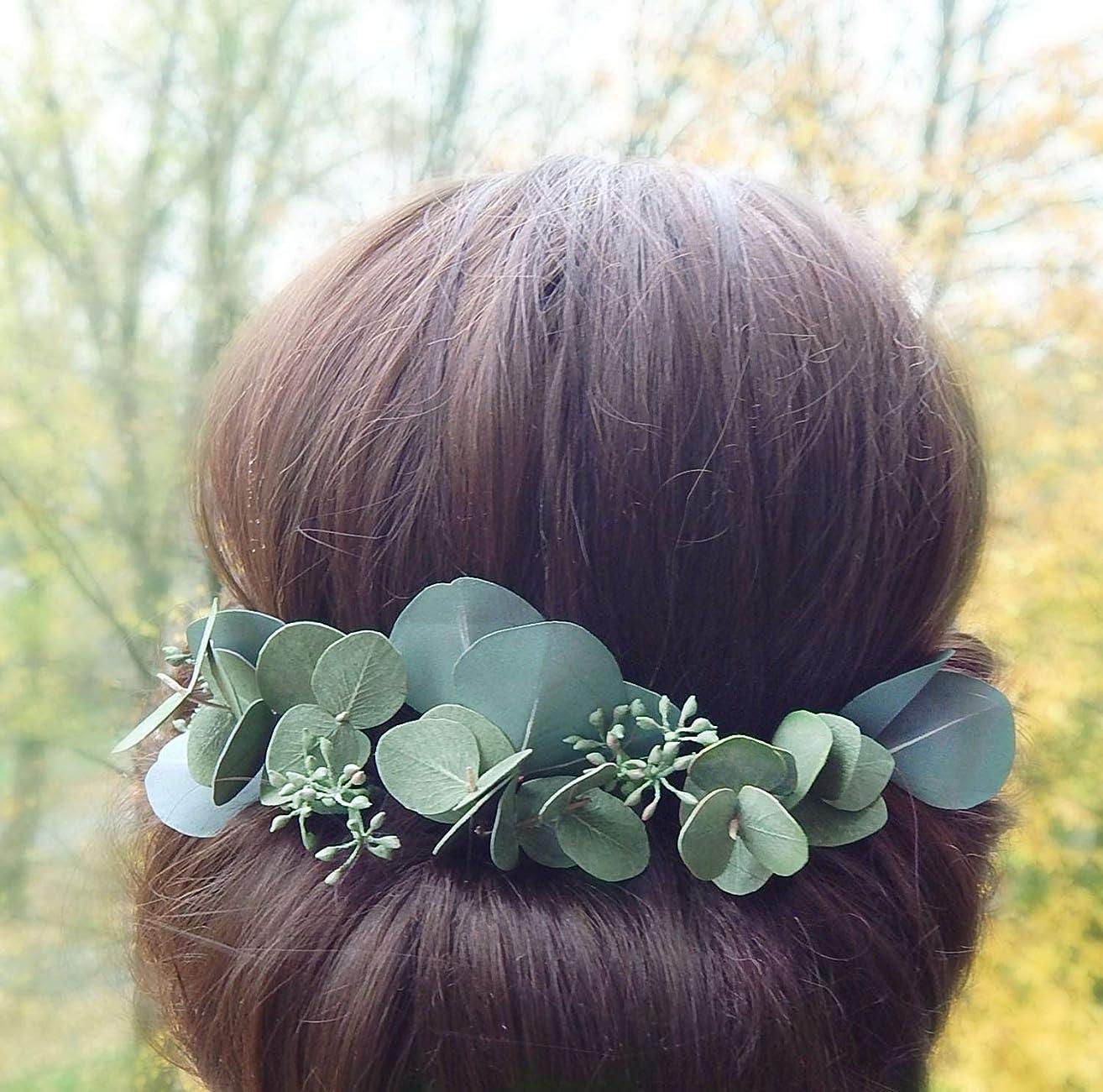 Eucalyptus Hair Pins Set of 9 Green Leaves Headpiece Greenery Wedding Hairpiece Handmade Accessory