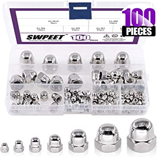 6 Sizes Swpeet 30Pcs M6 304 Stainless Steel Serrated Metric Wing Nuts Butterfly Nuts Hex Dome Cap M3 M4 M5 M6 M8 M10