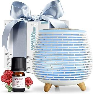 SALKING Humidificador Aceites Esenciales, Difusor de Aromaterapia con Rosa Aceite Esencial, Difusor Ultrasonico de Aceites Esenciales con LED de 7 Colores, 2 Modos Programados para Hogar,Oficina,Yoga