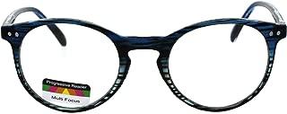 Round Keyhole Thin Plastic Horn Rim Tri-focal Progressive Reader Eyeglasses