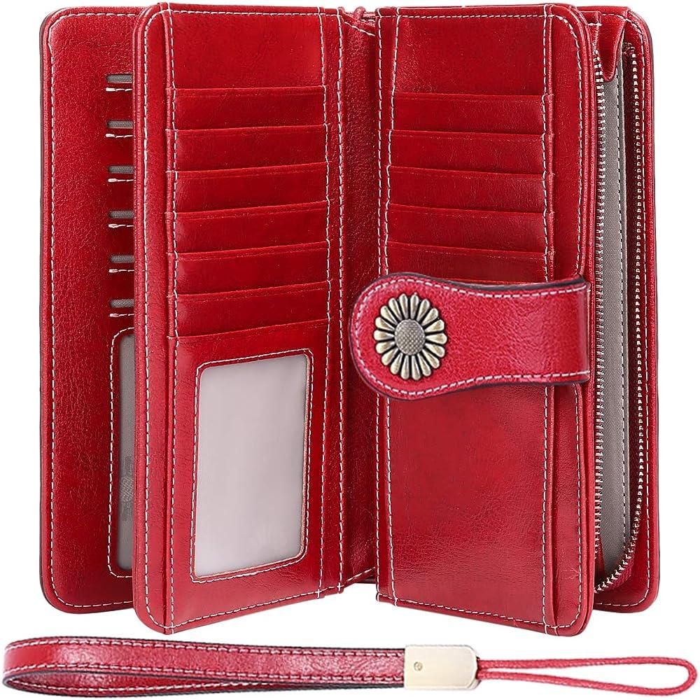 Teuen, porta carte di credito, portafogli da dnna, in vera pelle, rosso 2, protezione rfid