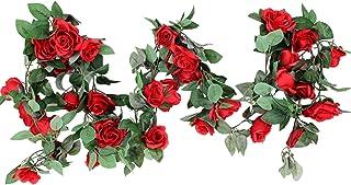 "M2cbridge Artificial Silk Rose Garland Flower Ivy Garland 86"" Home Hanging Wedding Decor, 2 Strands (Red)"