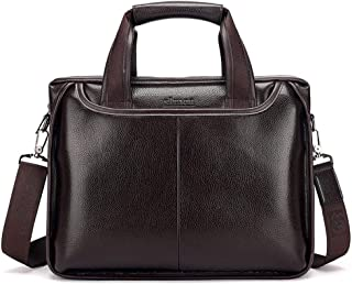 Middle-Aged and Older Business Men's Handbag Cross Section Shoulder Bag Large Capacity Dad Briefcase Computer Bag (Color : Dark Brown)