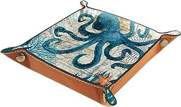 KAMEARI Skórzana taca wzór ośmiornicy klucz telefon moneta pudełko skóra bydlęca taca na monety praktyczne pudełko do prze...