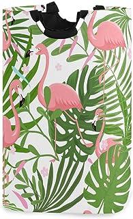 N\A Panier à Linge Flamant Tropical, boîte de Panier à Linge Flamant Rose Palmier Grand Rangement étanche Facile à Transpo...